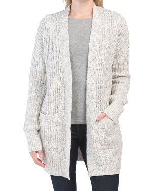 Cotton Blend Marled Cardigan Sweater