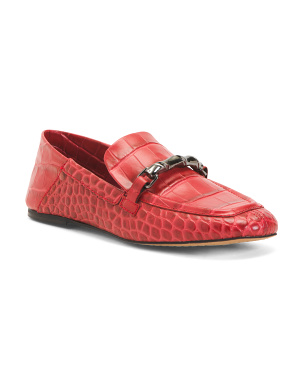 Croc Embossed Leather Loafers