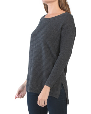 Texture Step Hem Wool Blend Sweater Tunic