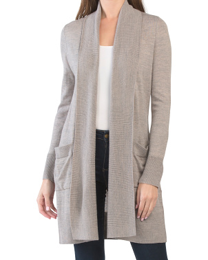 Wool Blend Cardigan With Pockets