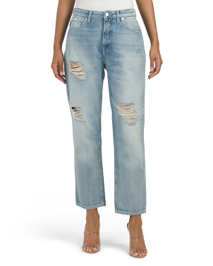 Destructed Straight Leg Jeans