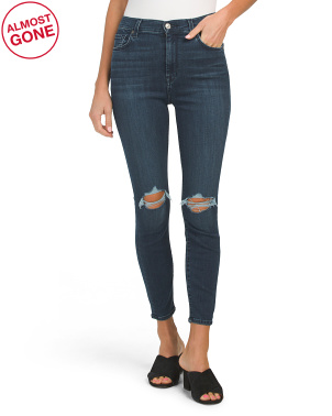 High Waist Ankle Skinny Jeans With Knee Destruction