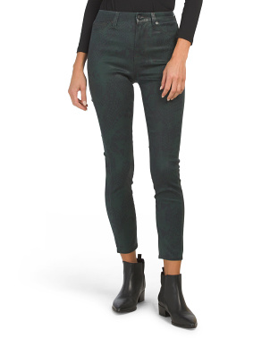 Coated Snake Ankle Skinny Jeans