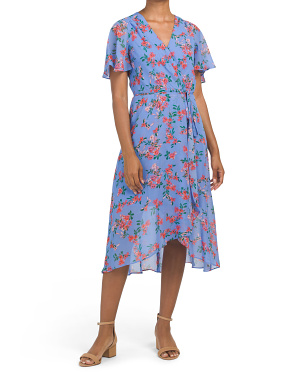Chiffon Floral Midi Dress With Hi-lo Hem