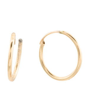 Made In Spain 14k Gold 10mm Hoop Earrings