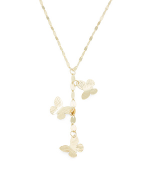 Made In Italy 14k Gold Butterflies Mirror Chain Necklace