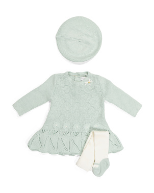 Newborn Girls Sweater Dress With Tights & Beret