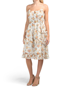 Juniors Floral Print Midi Dress With Ruffle Detail