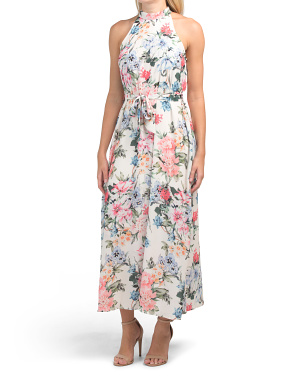 Juniors Halter Floral Print Maxi Dress With Waist Tie