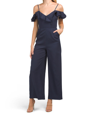 Juniors Off The Shoulder Ruffle Jumpsuit