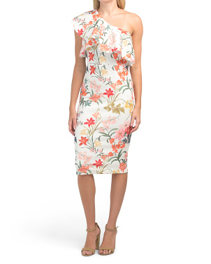 Juniors One Shoulder Floral Print Dress