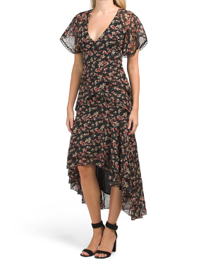 Juniors Printed Hi-lo Midi Dress