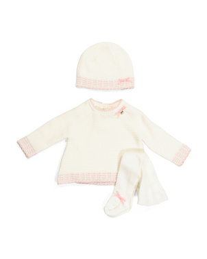 Newborn Girls Sweater Set With Tights & Hat