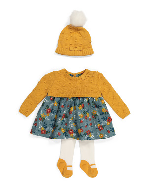 Newborn Girls Floral Sweater Dress With Tights & Hat