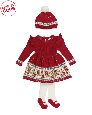 Newborn Girls Floral Jacquard Sweater Dress With Tights & Hat