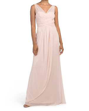Draped Stretch Tulle Gown