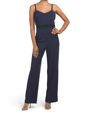 Crepe Beaded Waist Jumpsuit