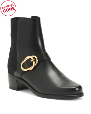 Made In Spain Buckle Detail Leather Low Heel Booties