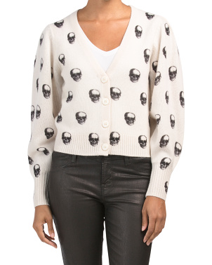 Cashmere Remy Cropped Skull Cardigan