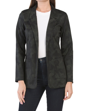 Camo Print Boyfriend Jacket With Patch Pockets