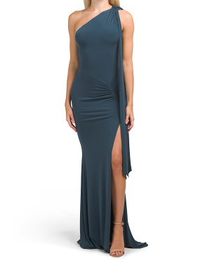 Made In Usa Attention Seeker One Shoulder Drape Gown