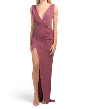 Made In Usa Penny Sue Jersey Ruched Deep V Gown