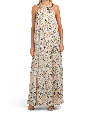 Tassel Neck Paisley Printed Maxi Dress