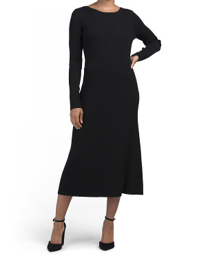 Long Sleeve Fit & Flare Midi Ribbed Dress