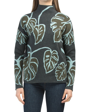Leaf Print Funnel Neck Double Knit Sweater