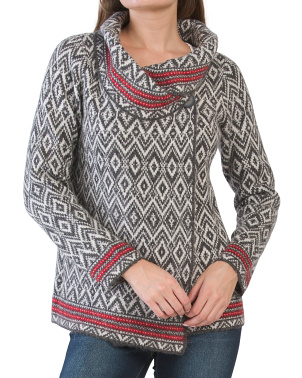 Aztec Border Print Doubleknit Sweater Jacket