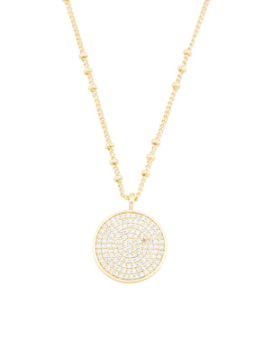 18k Gold Plated Cz Pristine Coin Necklace
