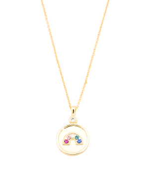 18k Gold Plated Madison Crystal Rainbow Adjustable Coin Necklace