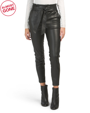 Tie Waist Faux Leather Crop Pants