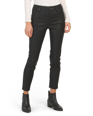 High Rise Faux Leather Straight Pants