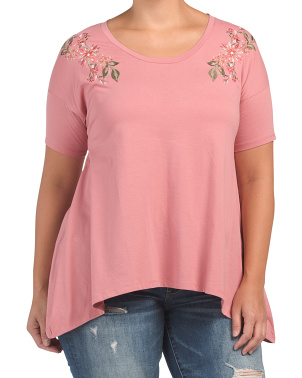 Plus Floral Embroidered Knit Top