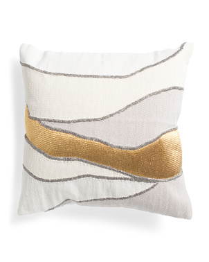 20x20 Modern Metallic Embroidered Pillow