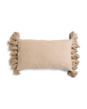 14x24 Soft Chenille Tassel Pillow