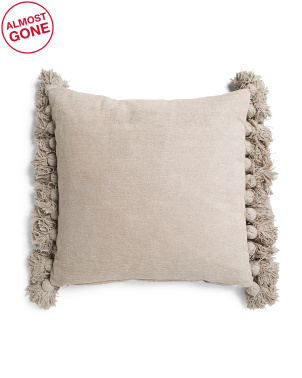 20x20 Soft Chenille Tassel Pillow