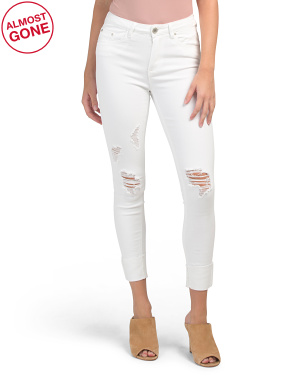 Juniors Mid Rise Deconstructed Jeans