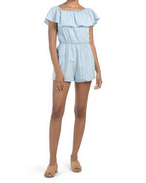 Juniors Striped Chambray Romper