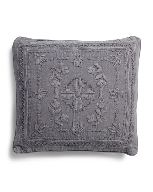 22x22 Garment Wash Embroidered Pillow