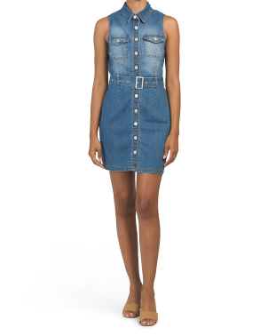 Juniors Sleeveless Denim Dress