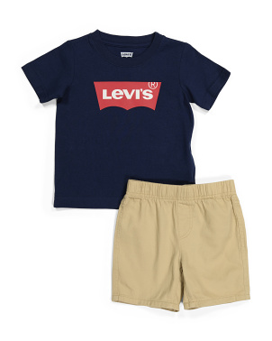 Toddler Boys Batwing Tee And Shorts Set