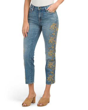 High Rise Slim Straight Embroidered Jeans
