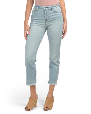 High Waist Cropped Jeans With Frayed Hem