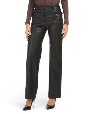 Wide Leg Faux Leather Pants