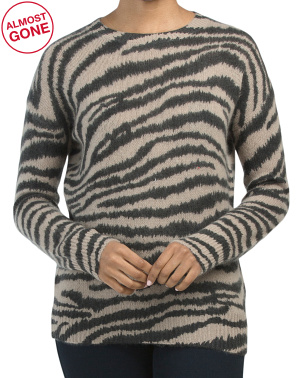 Cashmere Crew Neck Overwashed Zebra Print Pullover Sweater