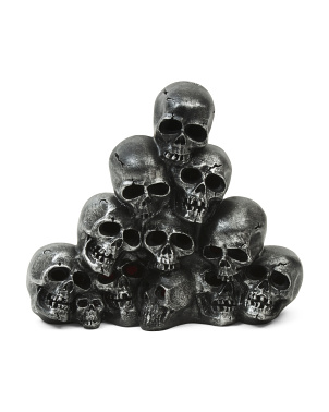 14in Resin Gunmetal Stacked Skulls