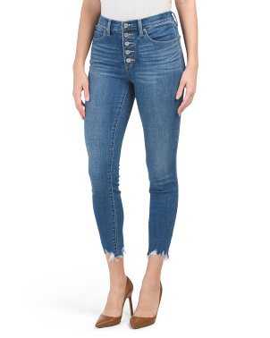 High Rise Bridgette Exposed Button Fly Skinny Jeans