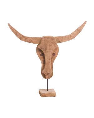 25in Mango Wood Bull Head On Stand